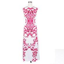 Цветочный printmaxi Женщины платье без рукавов с круглым вырезом и длинными шифоновое платье белый ботильоны повседневные Элегантные летнее платье горячая Распродажа 2018