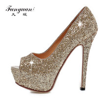 Fanyuan Women Pumps Peep Toe High Heels Shoes Ladies Glitter Platform Heeled Shoes Woman Slip-On Sexy Wedding Shoes Gold Silver blue with gold wedding pumps peep toe high heels slip on stilettos party shoes 2016 new women pumps sweet bridal pump shoes