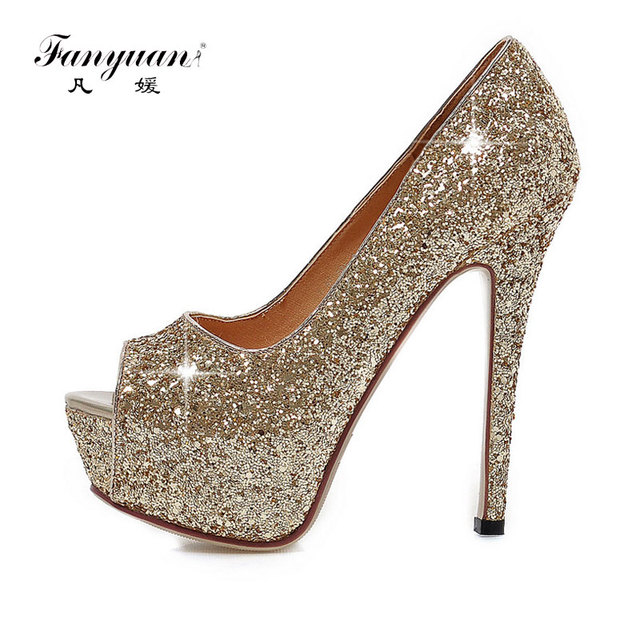 7167a7682449 Fanyuan Women Pumps Peep Toe High Heels Shoes Ladies Glitter Platform  Heeled Shoes Woman Slip-On Sexy Wedding Shoes Gold Silver