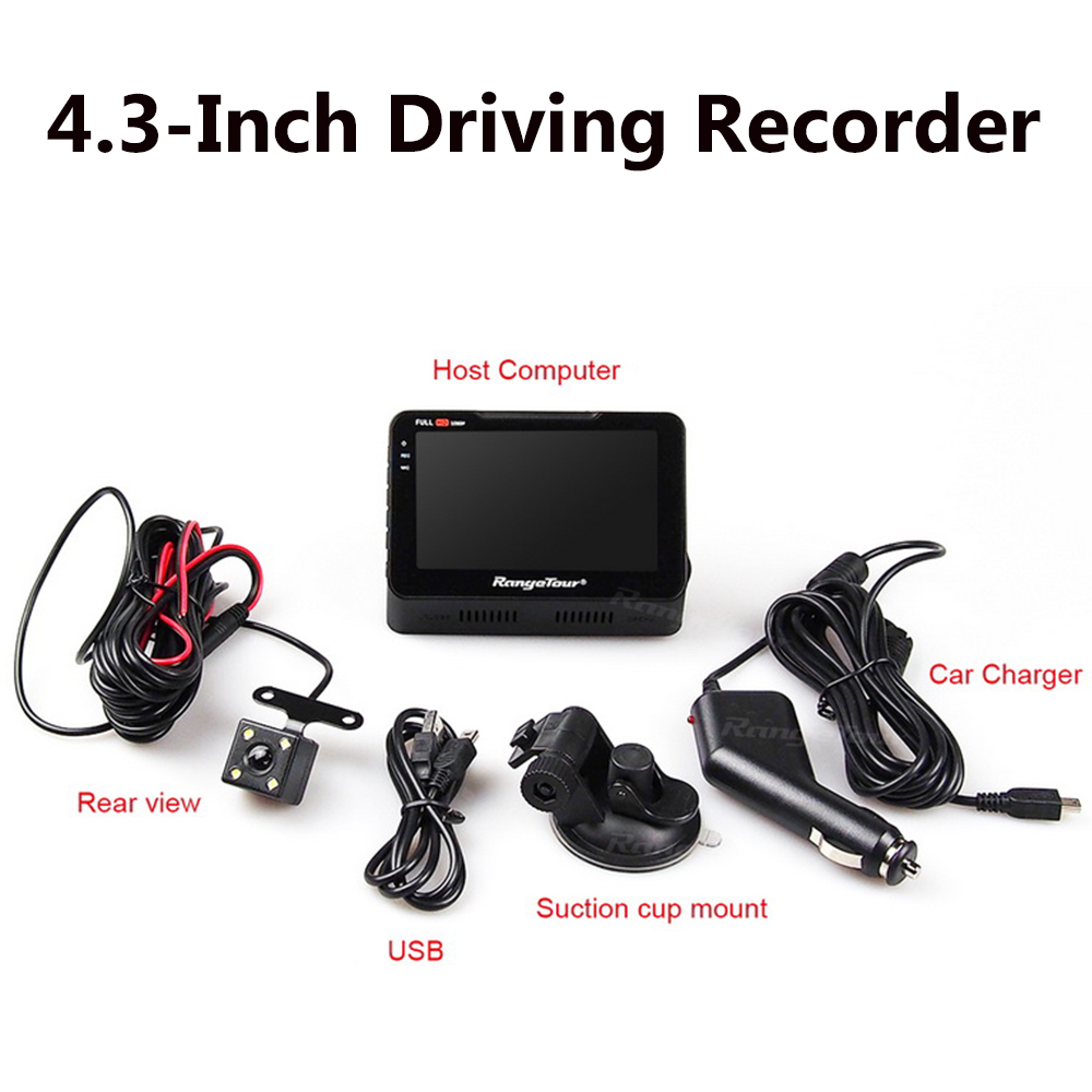 Dash Cam + Rear Camera Video Recorder B90s Plus Dual Lens 2018 New 4.3 LCD Car Camera DVR 170 Degree Dashboard Full HD 1080P