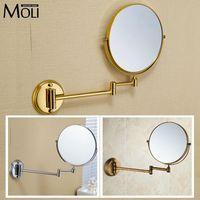 Bathroom Mirror Copper Frame Round Mirror Wall Mount 8 Double Face Foldable Arm Makeup Mirrors Espelho