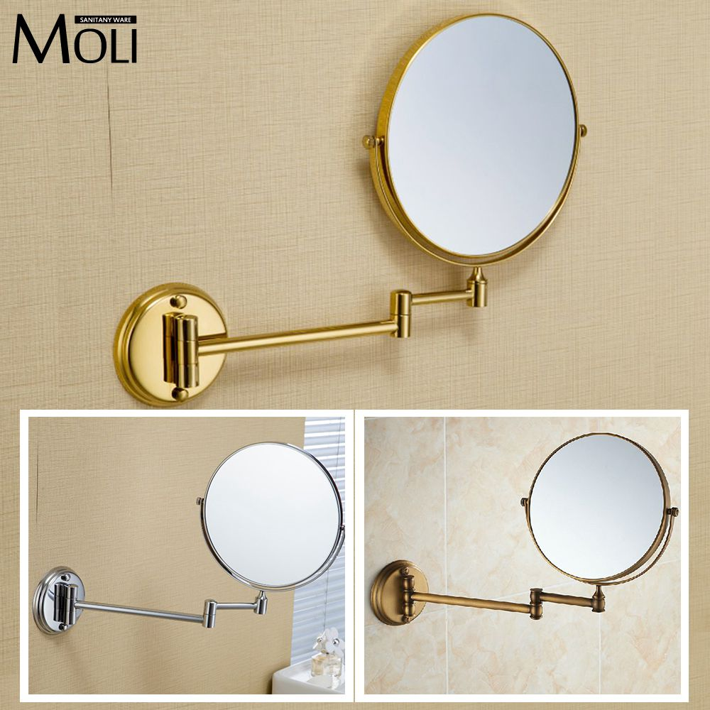 Bathroom mirror copper frame round mirror wall mount 8 double face foldable arm makeup mirrors espelho bath 3 x magnification