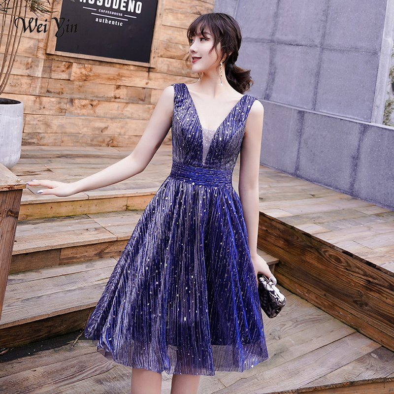 wei yin 2019 Blue Short   Evening     Dress   Sexy V-neck Lace A-line Party Gown Formal   Dress   Custom Prom   Dresses   Robe De Soiree WY1729