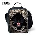 Elegante Moda Lunch Bag Para Homens Crianças Meninos Legal Lobo tigre Estudantes Piquenique Lancheira Caixa do Alimento Sacos Crianças saco de Viagem Portátil Termica