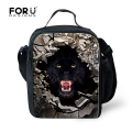 Stylish Fashion Lunch Bag For Men Kids Boys Cool Wolf Tiger Students Picnic Food Box Bags Kids Portable Travel Lancheira Termica
