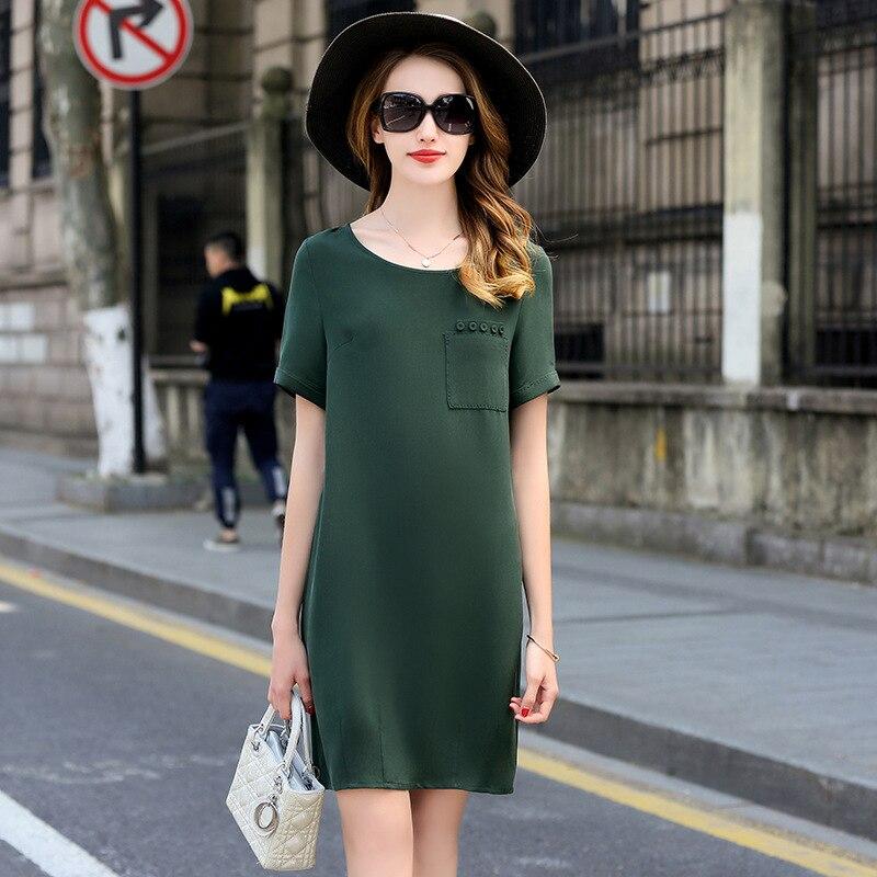 Vestido de alta calidad para mujer 100% seda pesada diseño Simple cuello redondo bolsillos manga corta 3 colores vestido recto nueva moda 2018-in Vestidos from Ropa de mujer    2
