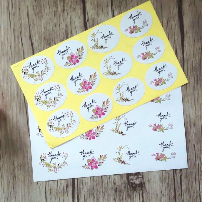 120pcs/lot Vintage Thank You Elegant Flower Ellipse Adhesive Kraft Seal Sticker For Baking Gift Label Stickers Funny DIY Work