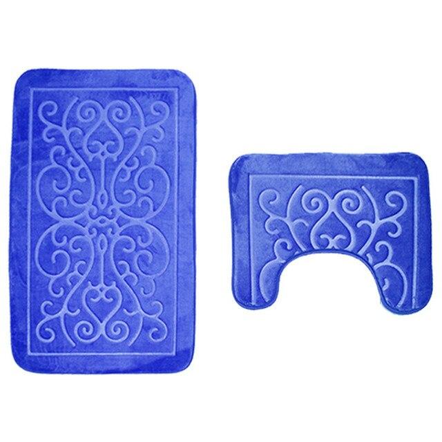 2 PZ Modello 3D Tappetini Da Bagno e Toilette Set Antiscivolo Bagno Stuoia/Coperta