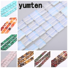 Yumten Square Opal Beads 12mm*12mm Bead Red Agate Malachite Tiger Eye Cherry Quartz Crystal for Jewelry Making Handmade Necklace