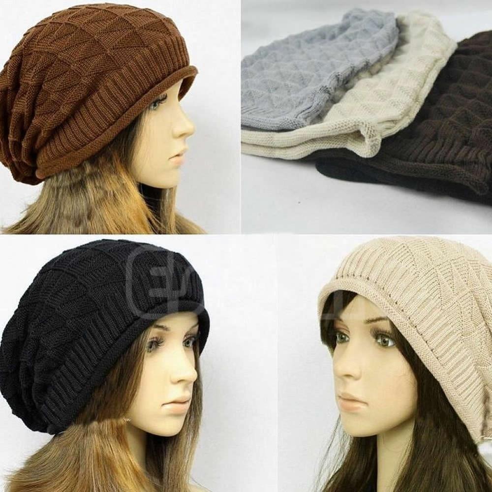 Vogue Plicate Baggy Beanie Knit Crochet Ski Hat Oversized Slouch Warm Winter Cap-448E women ladies beret winter warm baggy beanie crochet hat knit slouch chic ski cap