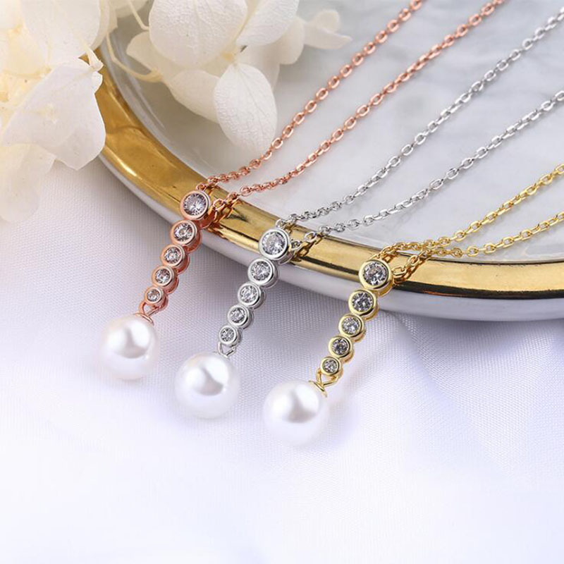 New Arrival Europe Style Women Girl Gift Zircon Pendant Necklace 925 Sterling Silver Chain Jewelry Gift for Valentine 39 s Day in Pendant Necklaces from Jewelry amp Accessories