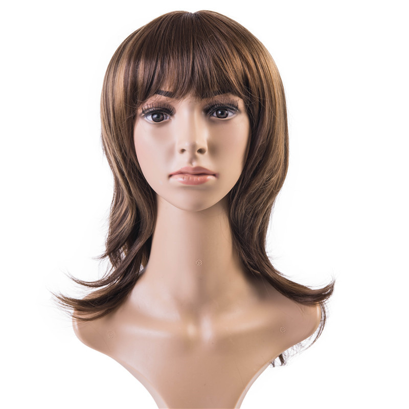Soloowigs Natural Wavy Light Brown Highlight Full Bang Synthetic Hair Full Lace Medium Length Wig for the White Women