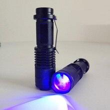 New Zoomable Led mini UV Flashlight Torch Light Ultra Violet Light Blacklight UV Lamp AA Battery For Marker Checker Detection цена