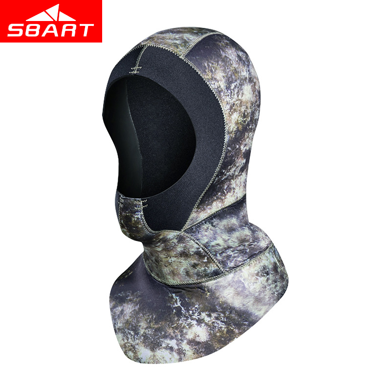 SBART Professional 3MM Neoprene Swimming Cap Men Women Scuba Diving Hood With Shoulder Spearfishing Hat Underwater Hooded Mask