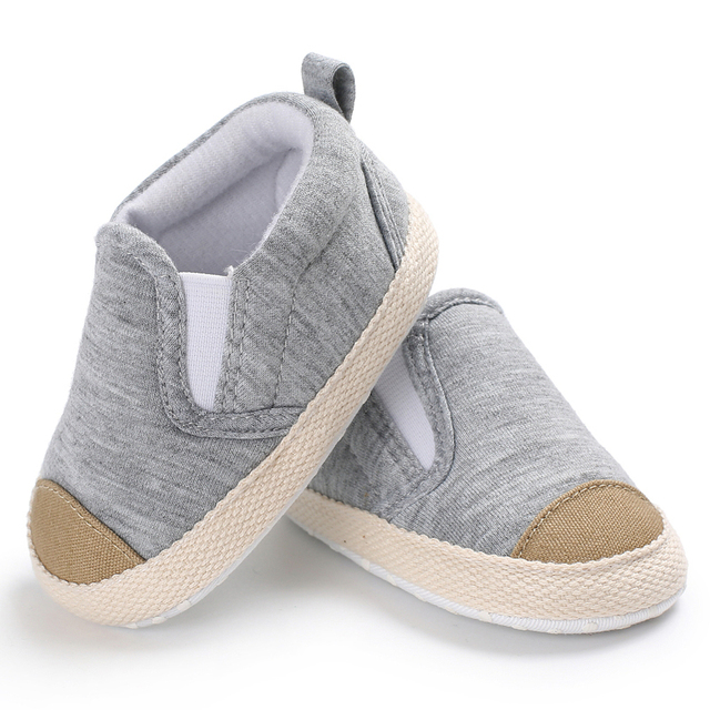 e94b5221249fe US $4.09 18% OFF|0 18 Months Newborn Baby Moccasins Walking Shoes Gray  Toddler Boy Girl Sneakers Infant Kids Slip on Striped First Walkers-in  First ...