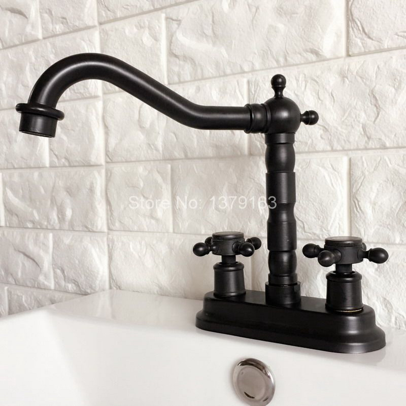 Black Oil Rubbed 4 Centerset Brass Kitchen Bathroom Vessel Sink Two Holes Basin Swivel Faucet Dual Handles Water Tap ahg069 black oil rubbed antique brass dual handles swivel bathroom kitchen sink vessel sink faucet basin mixer tap asf089