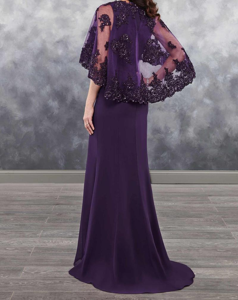 evening gown bolero sheer vestido novia Applique shining sequins 2018 arrival chiffon Dark Purple Mother of the bride dresses in Mother of the Bride Dresses from Weddings Events