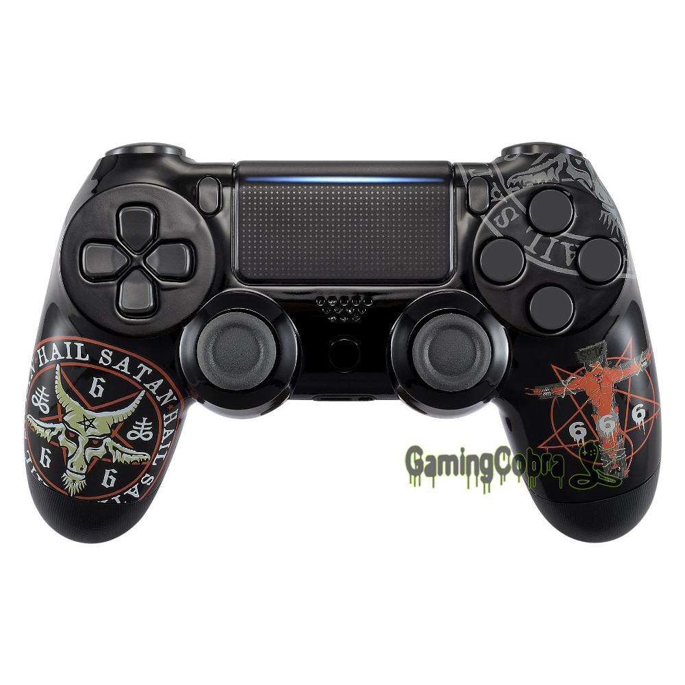 666 Hydro Dipped Front Housing Shell Fix Part for PS4 Slim Pro Controller JDM-040 JDM-050 JDM-055 - SP4FT22