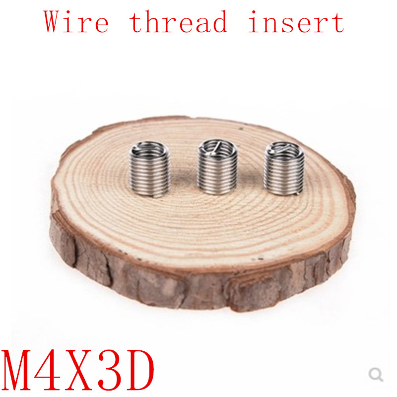 50pcs M4*0.7*3D Wire Thread Insert Stainless Steel 304 Wire Screw Sleeve, M4 Screw Bushing Helicoil Wire Thread Repair Inserts