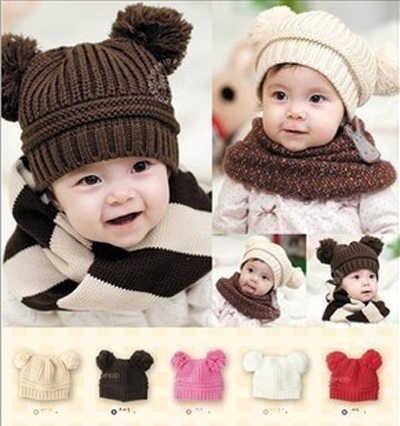 Gorro de invierno para bebé tuqué para 5 a 36 meses niñas niños doble Bola de punto gorro de suéter sombreros calientes de punto