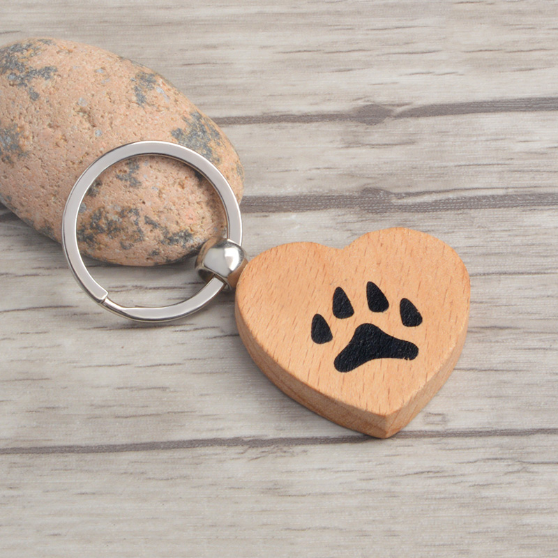 Paw Keychain Dog Cat Paw Key Chain Wooden Animal Pet Claw Keyring For Pet Lovers Owner Women Men Jewelry Gift