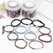 24pcs/set Multi-color High Elastic Hair Bands Solid Pearl Stretch Ties For Women Cute Headband Girl