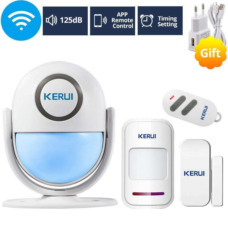 KERUI WIFI Home Security Alarm System Works with Alexa Smart App 120dB PIR Main Panel Door/window Sensor Wireless Burglar Alarm(China)