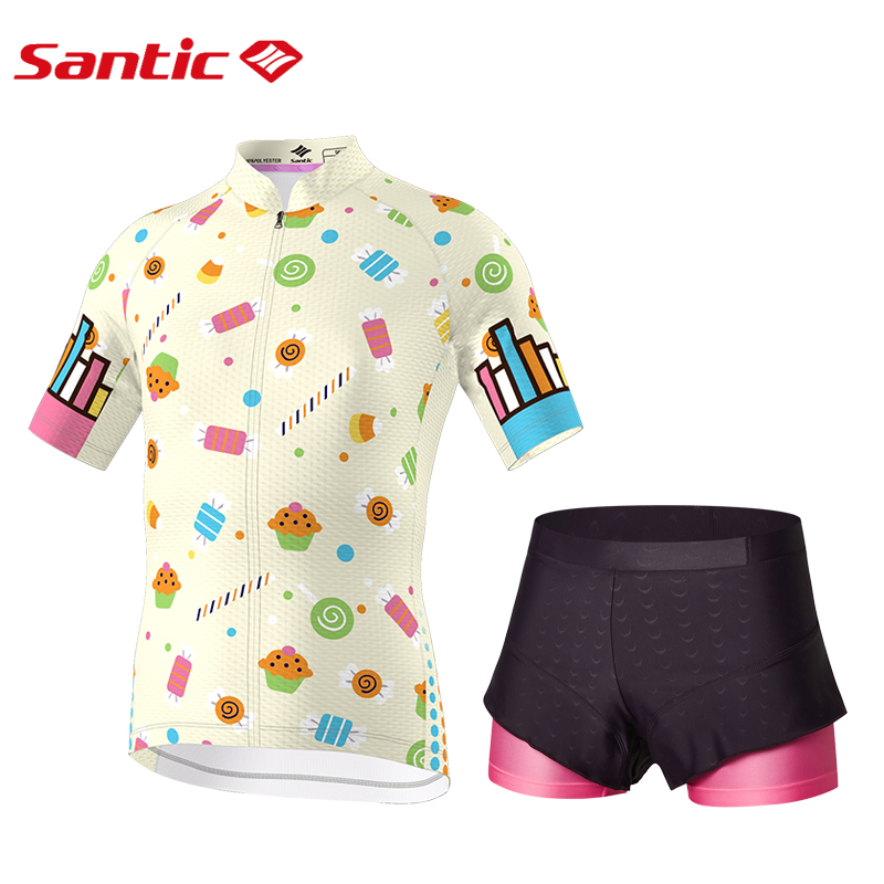 Santic Girls Cycling Padded Short Set Pro-fit Mather and Doughter Childrens Riding Dress Santic Elastic Technology M-XL WL7CT065 adjustable pro safety equestrian horse riding vest eva padded body protector s m l xl xxl for men kids women camping hiking