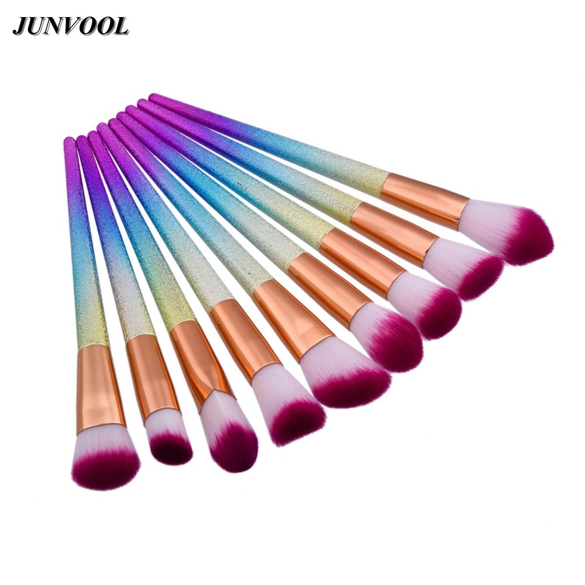Gradient Color Makeup Brush 9Pcs Professional Cone Rainbow Handle Makeup Brushes Cosmetics Blusher Powder Blending Smooth Brush