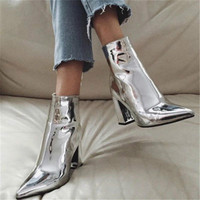 Sexy Patent Leather Pointed Boots for Women Chunky Heel Ankle Boots Lady Wedding Shoes