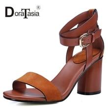 DoraTasia Size 34-39 Fashion Women Gladiator Ankle Straps Summer Shoes Vintage Chunky Heels Open Toe Platform Sandals