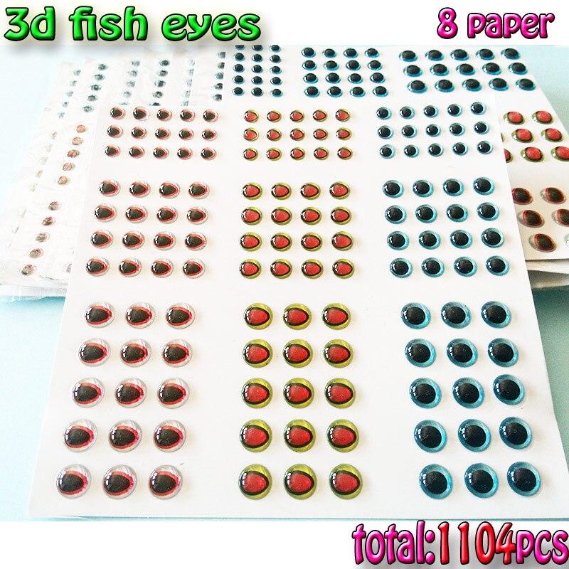 8paper total 1104pcs 3mm 360pcs 4mm 384pcs 5mm fishing 3d lure eyes fish jig