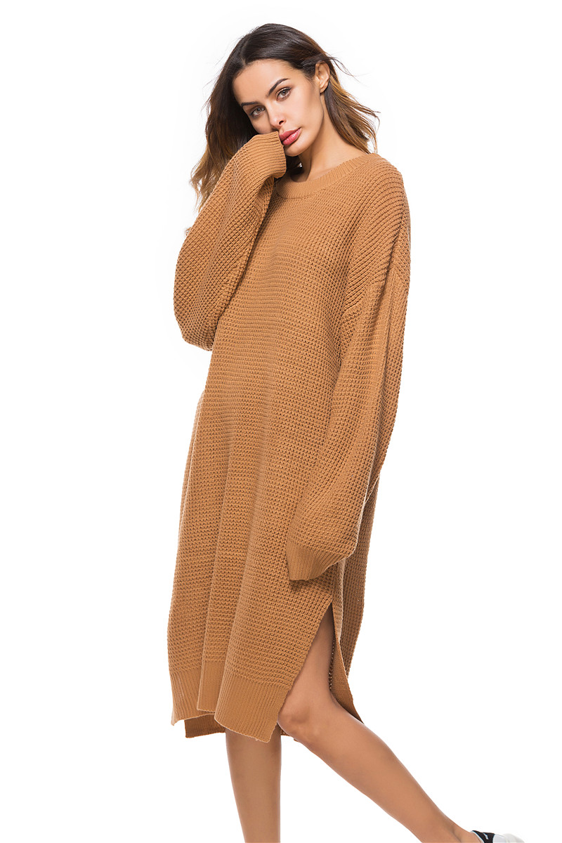 Fall Winter Vintage Mustard Side Slit Crochet Sweater Dress for Women Cute Ladies Retro Cosy Loose Split Pullover One Size 37