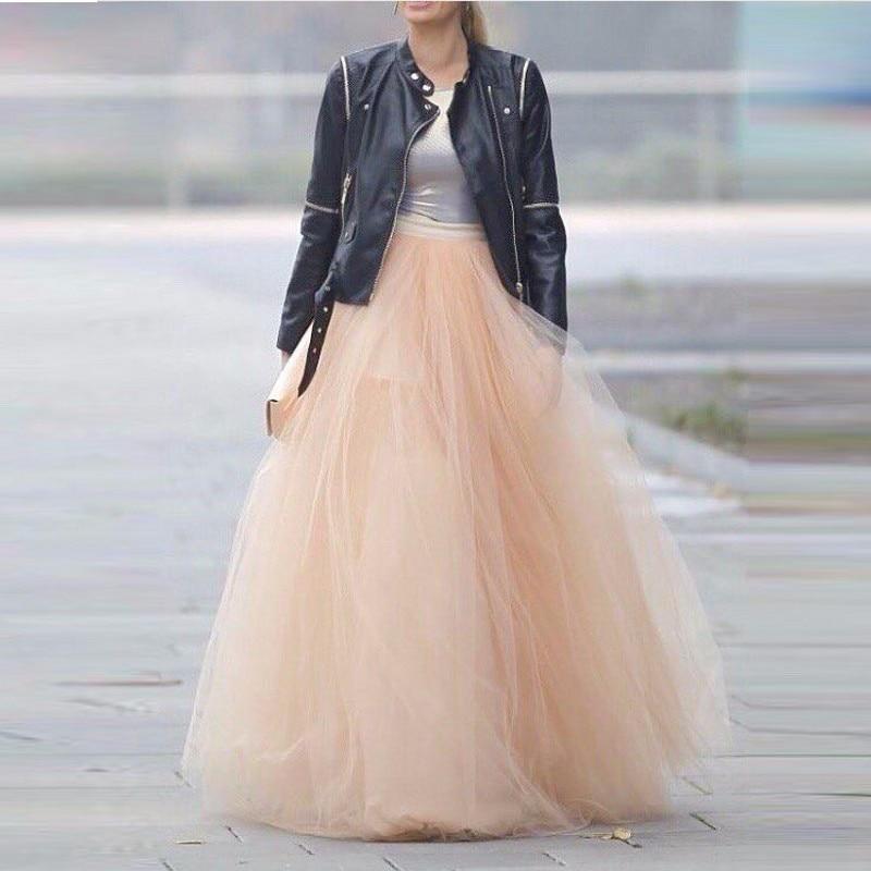 Puffy Long Tulle Skirt Womens Saia Longa Ball Gown Peach Pink Tutu Skirt Street Style Floor Length Long Maxi Skirt Custom Made