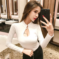 New Sexy Nightclub Women Tops Bottoming Shirt Open Chest Women T Shirt