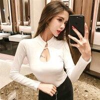 New Sexy Nightclub Women Tops Bottoming Shirt Open Chest Women T Shirt