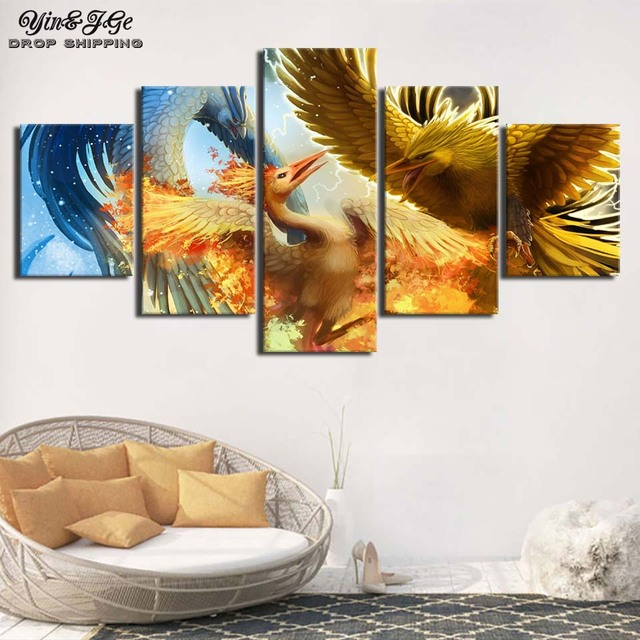 Wall Art Frame Modular Abstract Canvas Painting 5 Pieces Pokemon Cartoon Posters Prints Home Decor Living Room Pictures Artwork
