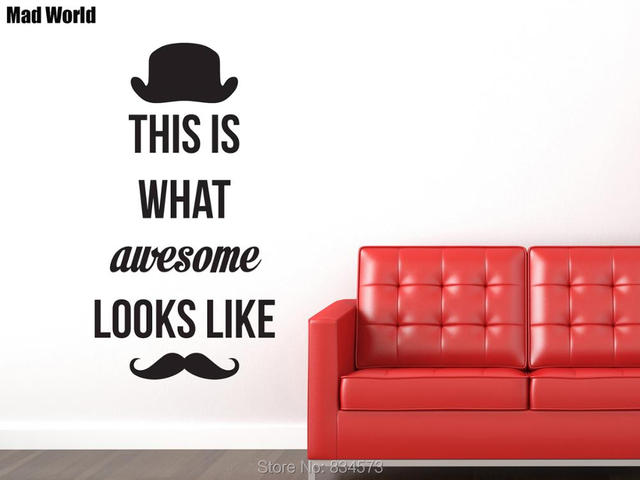 Mad World AWESOME Hat Mustache Wall Art Stickers Wall Decal Home DIY ...