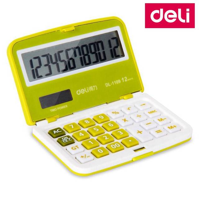 Placeholder Deli 1109 Portable Mini Electronic Calculator 12 Digit Dual Include Coin Battery Retail Ng