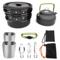 None Outdoor Camping Teapot Suits Cookware Pot Sets Portable Picnic Cooking Set
