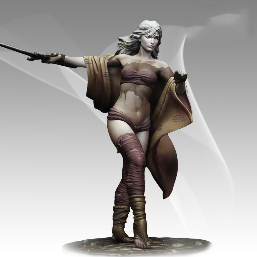 Assembly Unpainted <font><b>Scale</b></font> <font><b>1/24</b></font> 78mm Long haired girl Warrior <font><b>figure</b></font> Historical Resin Model image