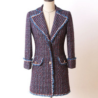 Tweed Jacket 2018 Runway Designer High Quality Elegant Formal Women Jacket Coat Vogue Plaid Slim Autumn Winter Casaco Feminino