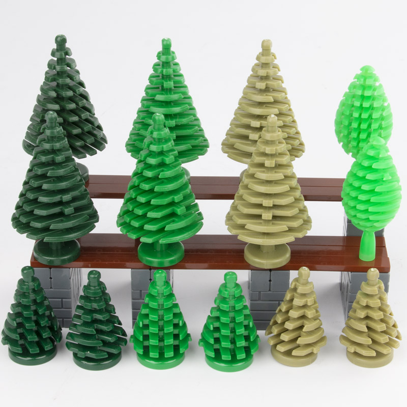DIY City Military Accessory Christmas Tree Green Grass Building Blocks Garden Plants Blocks Bricks Toy For Children