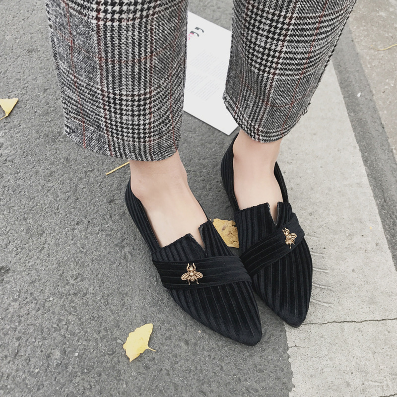 New Fashion Bee Flats Women 2018 Spring and Autumn Espadrilles New Sharp  The Shoes Students Social Grandmother Flat Shoes the bird and the bee the bird and the bee the bird and the bee