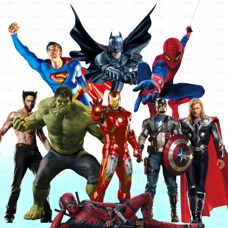 Super herói anime cartaz os vingadores 3d hulk thor arte da parede adesivos de vinil crianças quarto decoração marvel papel de parede 60*90cm 9 estilo