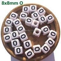 lettres Buchstabe Bead Loose Square English Letter 1100pcs 8mm Cube White Black Single Alphabet A B C D E F G H I J K L M N