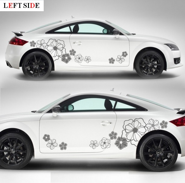 Left side car stickers fresh floral flower decoration motorcycle car styling vinyl waterproof decal customize size high quality in car stickers from