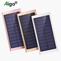 Aigo Ultra Thin 18650 Solar Panel 10000mAh Capacity Power Bank Polymer Battery Dual USB Charger Power