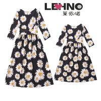 2019 New Spring And Summer Belts Printed Sleeves Dress Long Skirt Parent child Wear Mommy And Me Clothes
