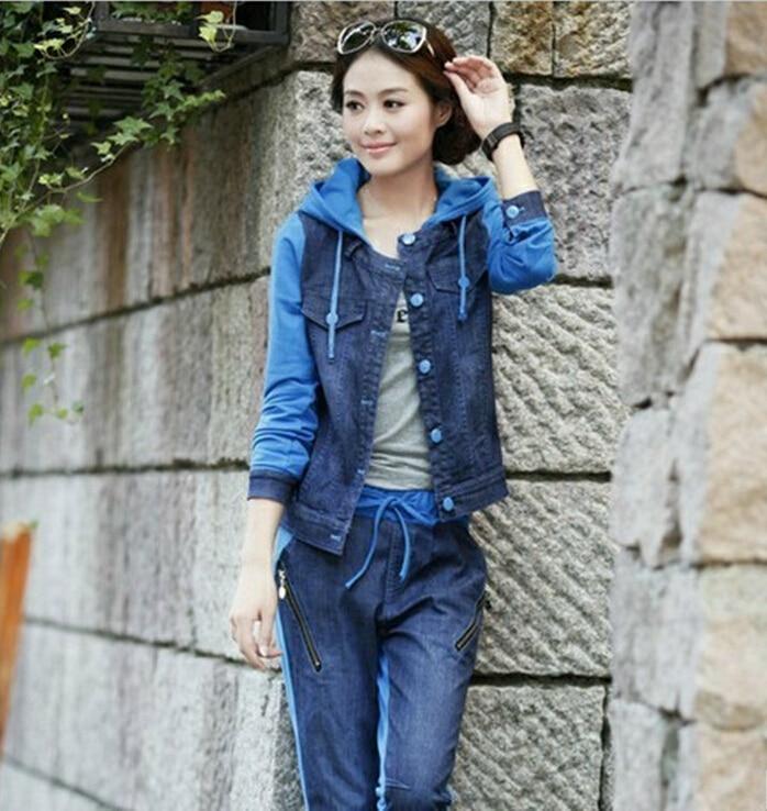 autumn suits set korean fashion women knit stitching denim hood jacket + pants casual 2 piece set women